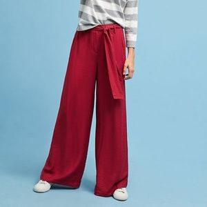 Anthropologie Maeve Red Tie Wasit Wide Leg Pants